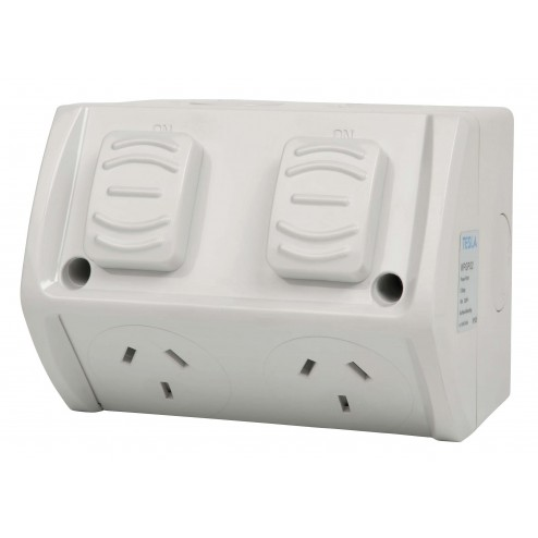Surface Mount Ceiling Bathroom Heater >> Weather Proof Double Power Point Outlet IP53 Rated 15 Amp – Cable Pro