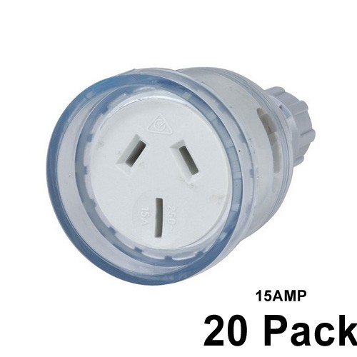20 X 15 Amp Female Extension Socket Lead 3 Pin Clear 240v